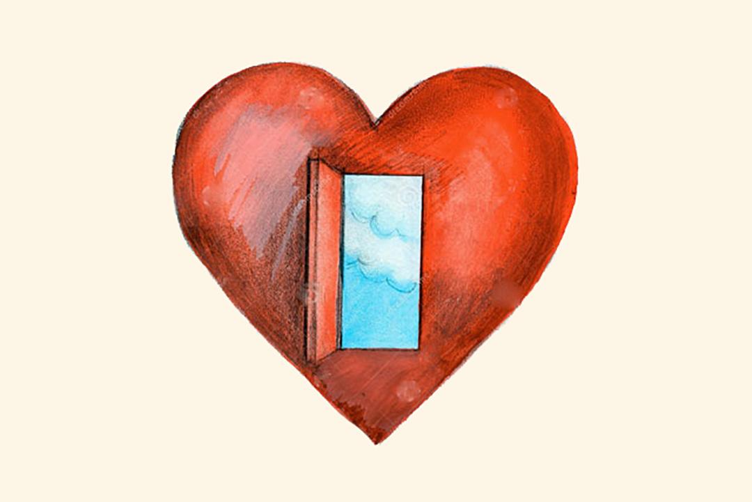 tekening van hart met een deurtje erin